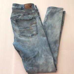 American Eagle 8 acid washed blue skinny jeggings